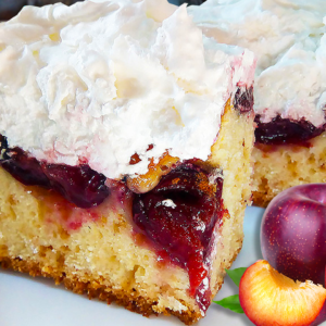 Homemade Plum Cake with Meringue (Easy Plum Cake Recipe)