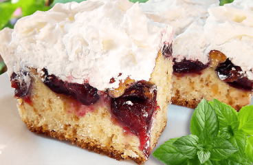 Homemade Plum Cake with Meringue | My Easy Plum Cake Video Recipe #202<span class=