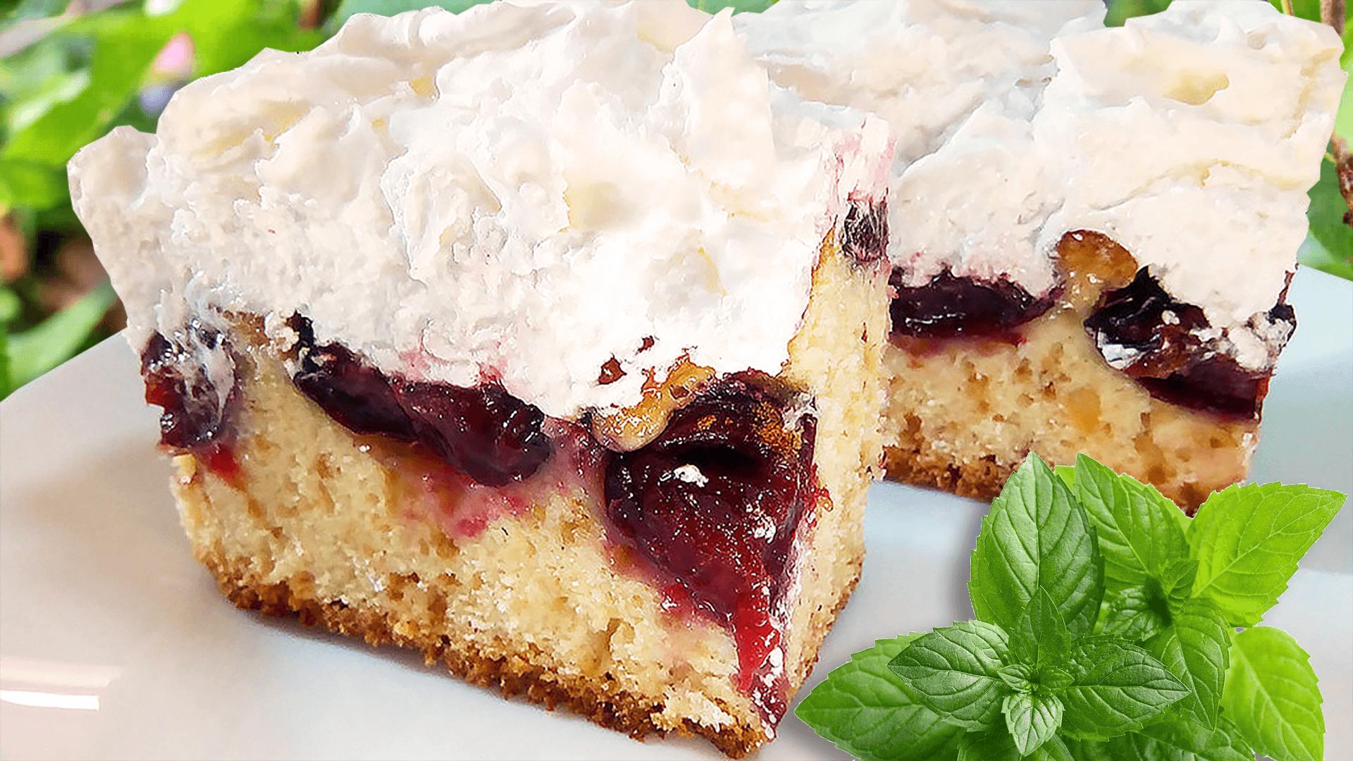Homemade Plum Cake with Meringue