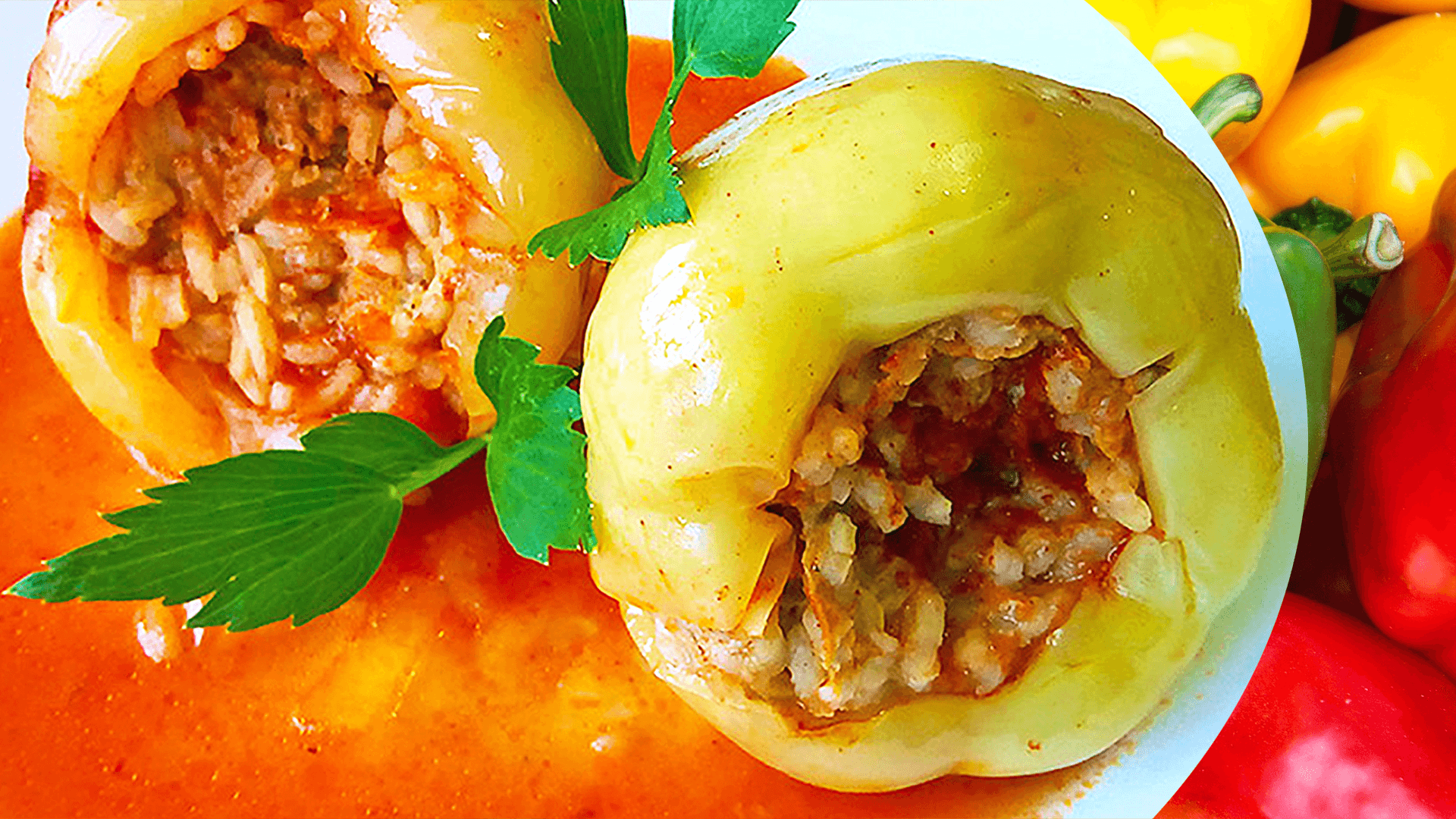 Stuffed Bell Peppers Recipe in Tomato Sauce (Easy Stuffed Peppers Recipe)
