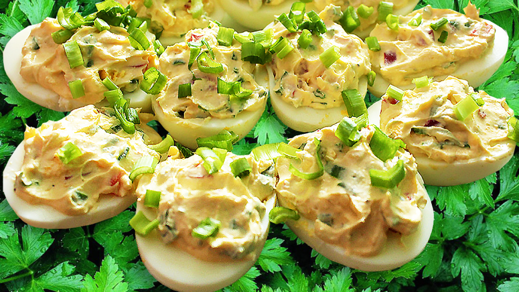 Classic Deviled Eggs Recipe with Bacon or Ham