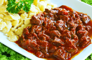 Beef Goulash Recipe with Dumplings | Easy Cooking Beef Stew Video #353<span class=