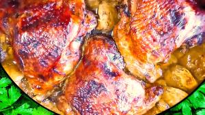 Roast Turkey Thighs with Apple Sauce