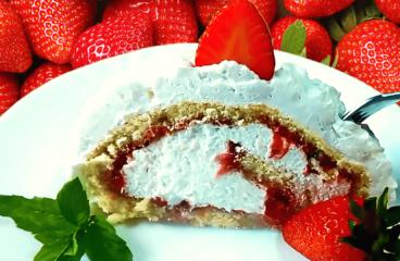 Strawberry Swiss Roll Cake Recipe | My Easy Strawberry Cake Video #115<span class=