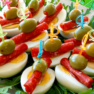 Appetizers on a Stick with Egg and Salami (Easy Cold Appetizer Recipe)