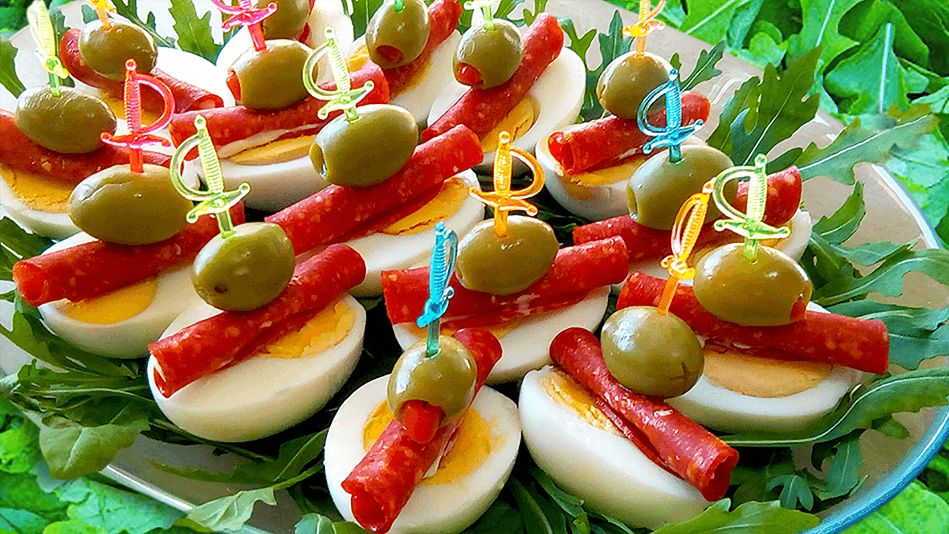 Appetizer Recipes - Appetizers on a Stick with Egg and Salami