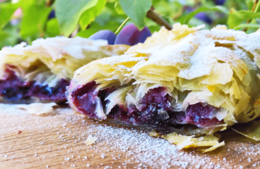 Homemade Plum Strudel Recipe | My Easy Baking Fresh Plum Cake Video #155<span class=