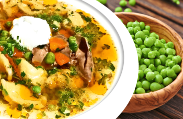 Authentic Hungarian Green Pea Soup with Dumplings and Chicken Livers in 15 Steps<span class=