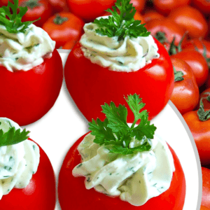 Basic Cream Cheese Stuffed Tomatoes (Cold Appetizer Recipe in 5 Steps)
