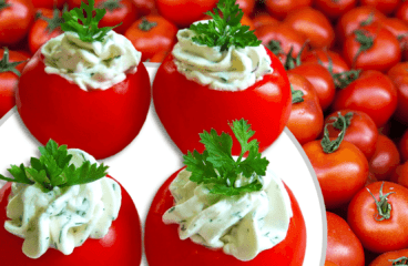 Basic Cream Cheese Stuffed Tomatoes (Cold Appetizer Recipe in 5 Steps)<span class=