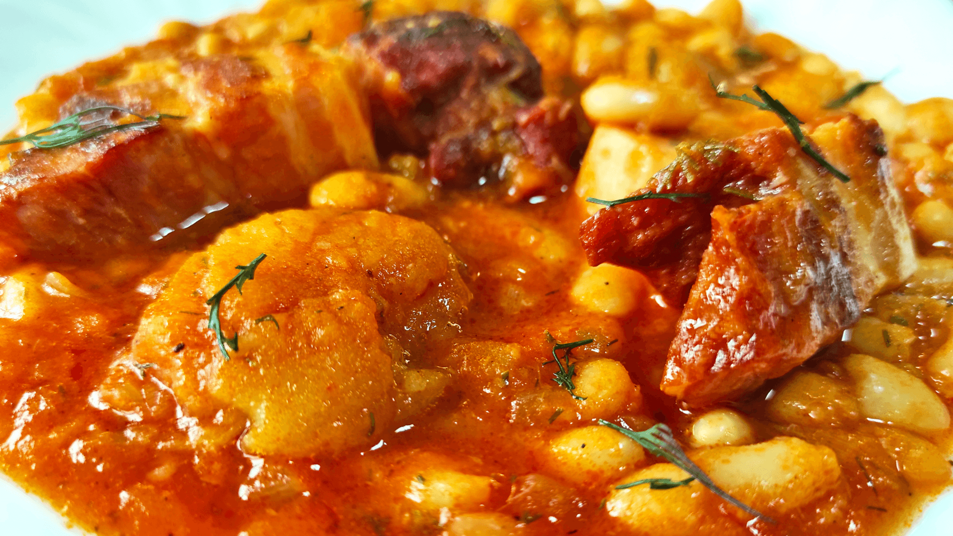 Authentic Bean Goulash with Smoked Bacon and Apples (Hungarian Goulash Recipe )
