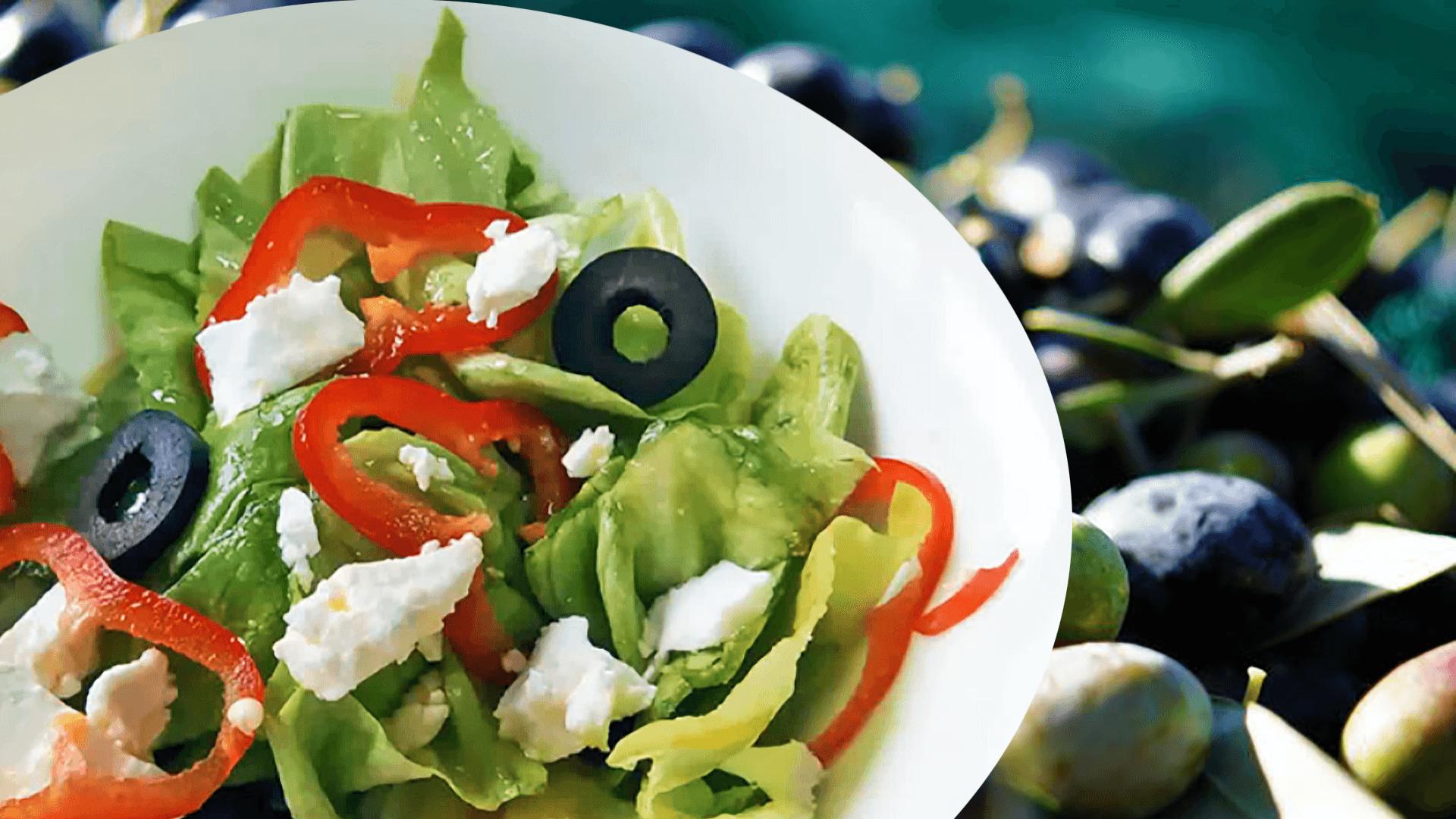 Easy Lettuce Salad with Feta (Fresh Vegetable Salad Recipe)
