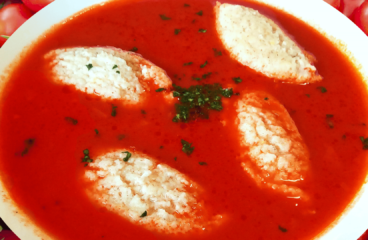 Easy Tomato Soup with Semolina Dumplings | My Tomato Soup Recipe #104<span class=